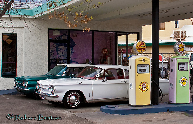 Vintage Corvairs at the Vintage Gilmore Service Station