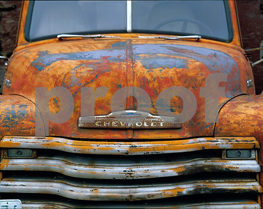 A rusted chevy pick up near Cle elum, WA.
