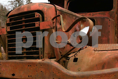 This old dump truck is now an art piece that sets in Wilkeson, WA at the Sandstone Quarry.