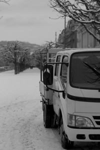 Switzerland, Lucerne, Truck in the Snow SNM