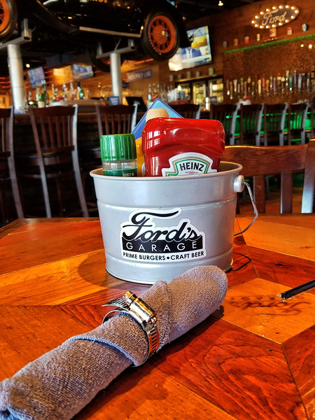 Napkin and Condiments on Table