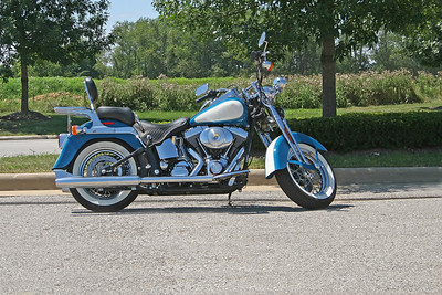 Blue and White Harley Davidson Motorcycle