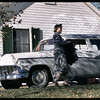 Sylvia with 1956 Ford Wagon