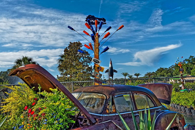 Jar Tree Over Automobile Planter