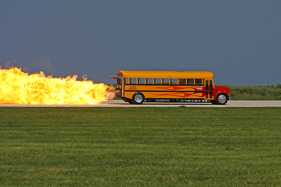 CLEVELAND, OHIO - SEPT. 3: Jet engine powered school bus at the Cleveland National Airshow on Sept. 3, 2011 in Cleveland, Ohio.