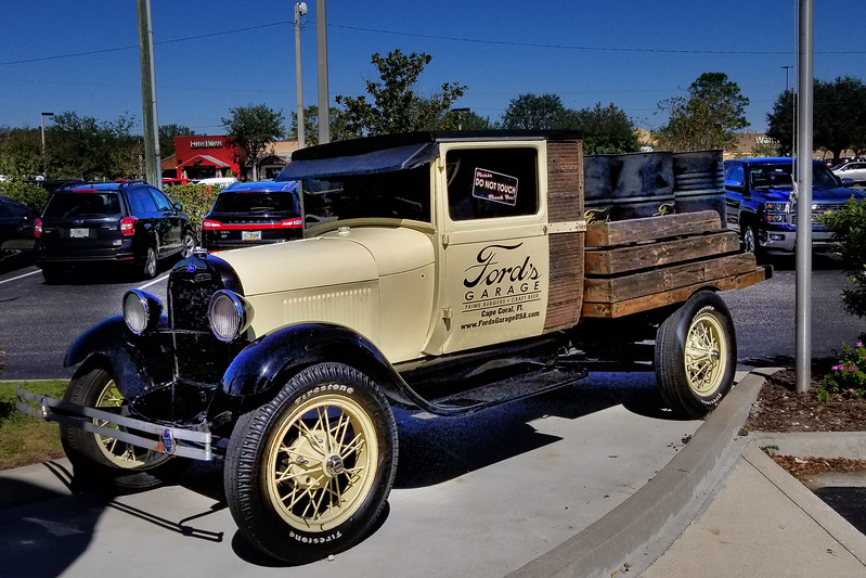 1930's Ford Pickup Truck outside of Ford's Garage