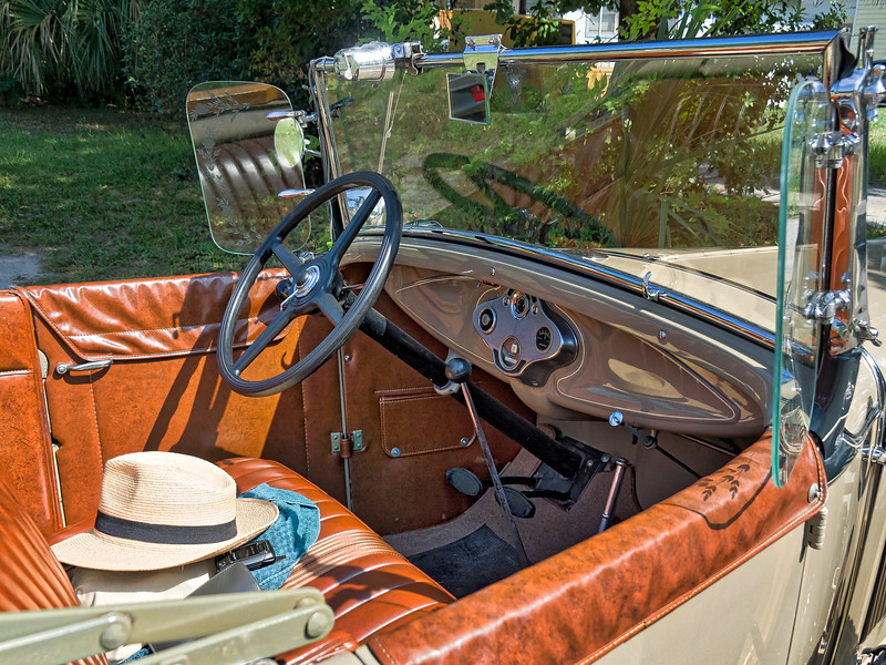 Straw Hat in 1930 Ford Model 'A' Deluxe Roadster