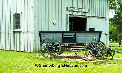 Buckboard at Hansen's Granary. Pioneer Aztalan, Jefferson County, Wisconsin