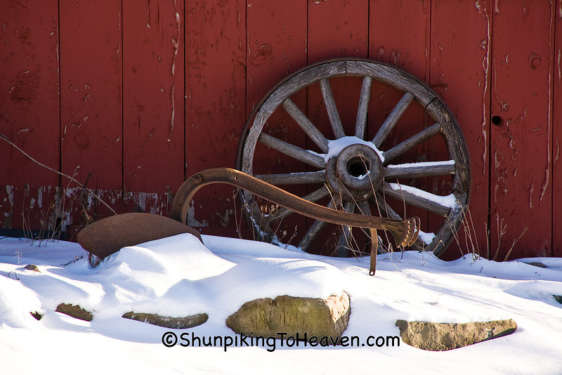 Antique Plow and Wagon Wheel, Columbia County, Wisconsin