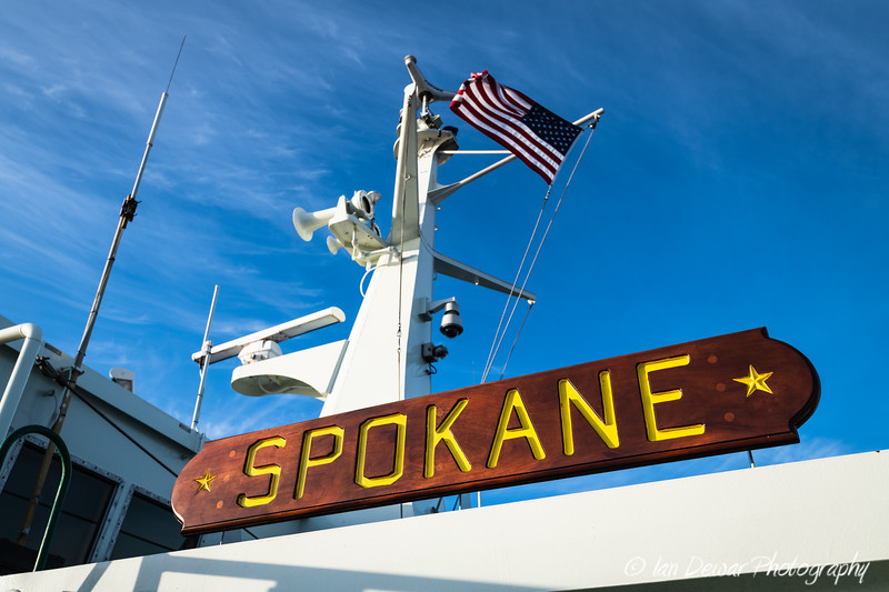 Nameplate  of the MV Spokane