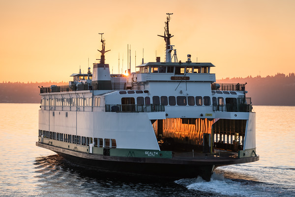 M/V Sealth illuminated by the rising sun