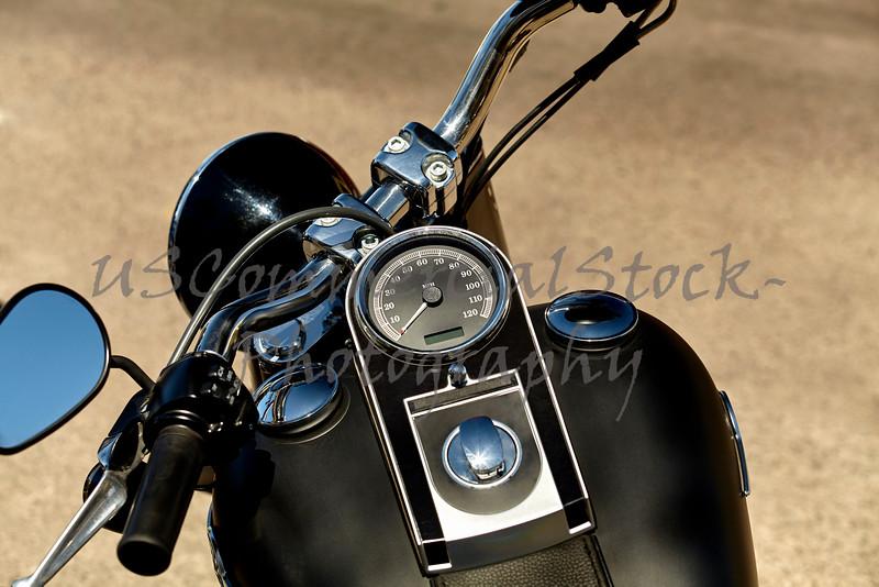 Black Motorcycle Speedometer and Handlbars