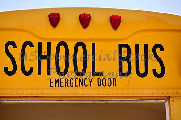 School Bus emergency back door closeup sign