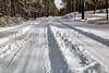 Snow covered mountain road winter landscape danger