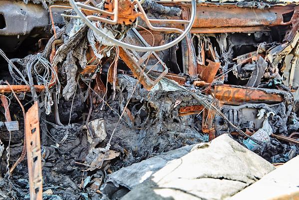 car automobile fire burn crash accident damage