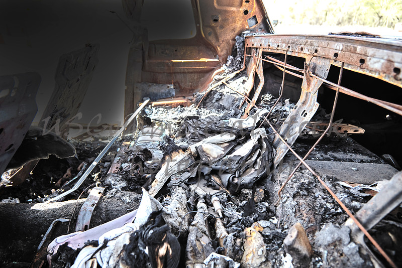 car interior burned in fire vehicle crash accident