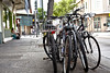 Bicycles on sidewalk downtown Honolulu Hawaii