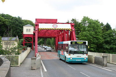 Inchinnan Bascule Bridge crosses the White Cart. Constructed 1923 - the road is the old A8