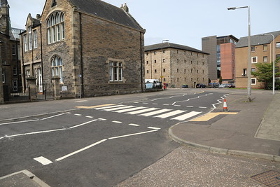 Stanwell Street, Edinburgh - new zebra crossing has not had Beacons fitted yet.  Note the narrowing of the bellmouth to Bonnington Road to reduce speeds of vehicles using the priority junction