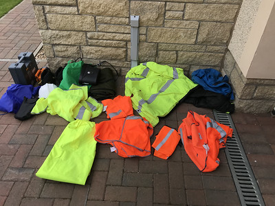 Under the boot floor clear out. More hi-vis than could ever be necessary. Jump leads and snow shovel. I could go on…