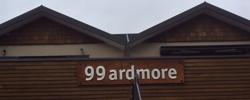 """""""Ardmore """"  by Simon Scaife.<br /> <br /> A quirky image with good detail in the texture of the timber. Unfortunately the object in front of the sign is a distraction. A tilt correction is also required.9"""
