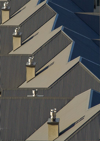 """ Newroof ""  by  Jacquie Scott.<br /> <br /> The ridge line and patterns created make this a pleasing image. Your eyes run along the ridge line and hop back over the chimneys and dance amongst their shadows.  I wonder if the author considered flipping it horizontally?	12"