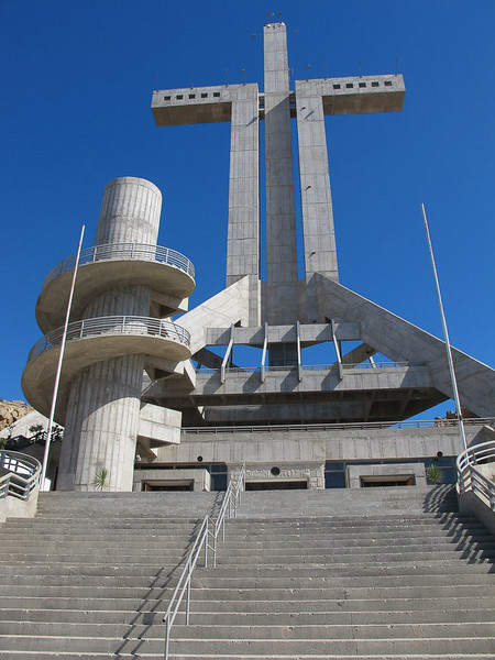 """ The Cross, Coquimbo, Chile ""  By  Anne Macdonald.<br /> <br /> A magnificent structure. The detail in the circular stair and the texture of the concrete have been well represented. There are some issues with regard to converging lines and lens barrelling which can be easily corrected in Photoshop.	11"