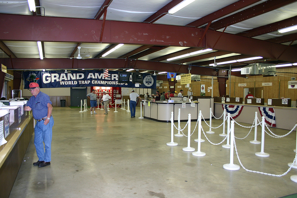Inside the Central Entry Building looking East. The Classification desks are on the left. The Squadding lines are on the right and the Cashiering is in the far right corner.