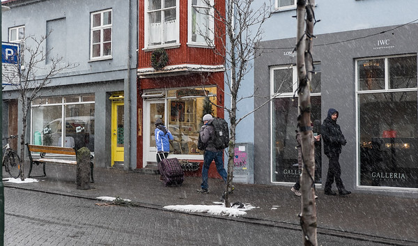 Old Town Reykjavik, it seemed to snow every 12 seconds or so.