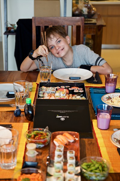 We dine that evening on sushi, Taio's choice for a birthday dinner. It was delicious.