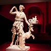 The array of cultures and eras and the beauty of the pieces is striking.  Here is a classic Diana, from Versailles' Hall of Mirrors, a marble statue of the 2nd Century.  Some of the art is on loan from the Paris Louvre; much is being purchased by Abu Dhabi as it assembles its permanent collection.