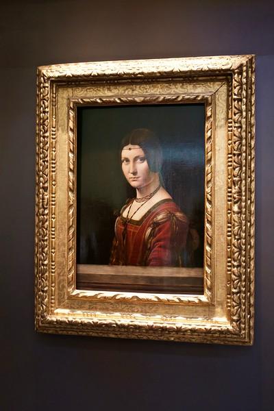 "Portrait of a Woman by Leonardo da Vinci.  (Leonardo's ""Salvatore Mundi "" has not yet arrived.)"