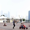 Another popular spot for the children is the waterfront Corniche,  where Justin rented cars for the children.  Downtown Abu Dhabi is in the background.