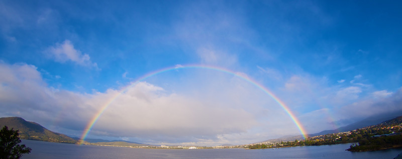 Rainbow over Hobart, from MONA