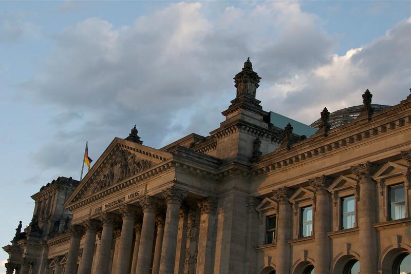 """Reichstag, with inscription """"Dem Deutschen Volke,""""  To the German people"""