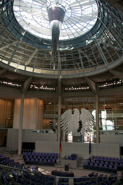 Bundestag chambers, looking up at the Dome