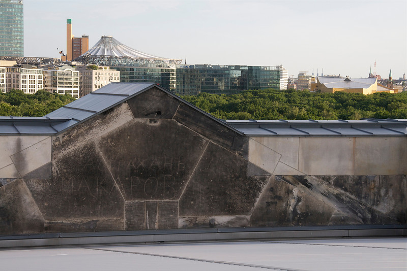 Russian writing on the roof of the Reichstag, the Sony Center and Philharmonic buildings<br /> (Russian forces took Berlin in April, 1945)