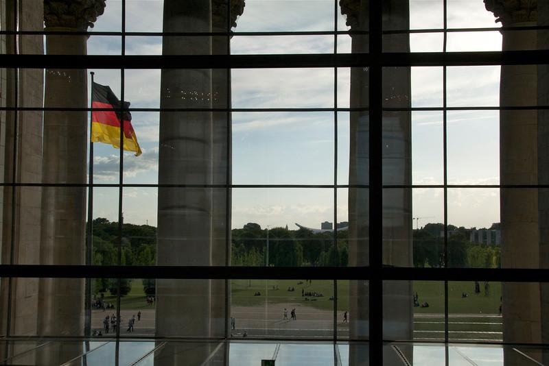 View of the Platz der Republik, from inside the Reichstag