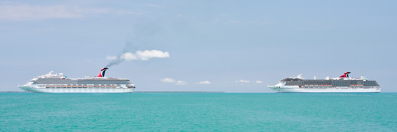 Carnival Valor and Carnival Legend anchored off coast of Belize.