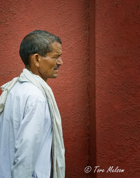 Man walking in Agra, India