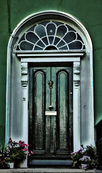 green and white dublin door