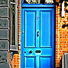 red brick and blue dublin door