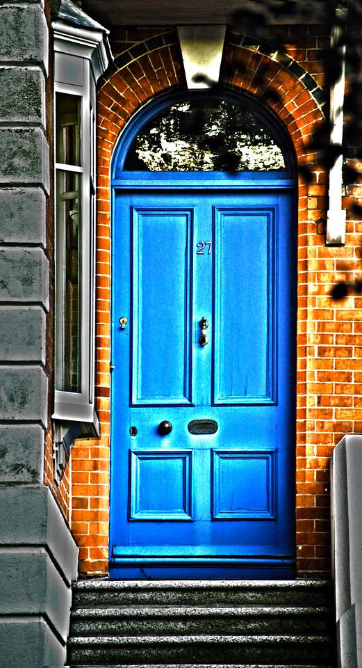 red brick and blue dublin door
