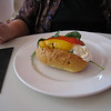 Sunday lunch: Pamela's whipped goat cheese with roasted peppers and arugla...