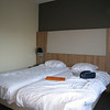 Our Nijmegen hotel room. Note the flexible-stem LED reading ligts - Eliot was much impressed.