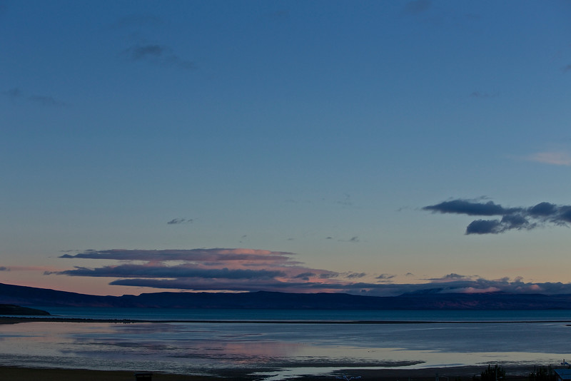 Sunrise at El Calafate, on Lago Argentino, where we began exploring Patagonia.