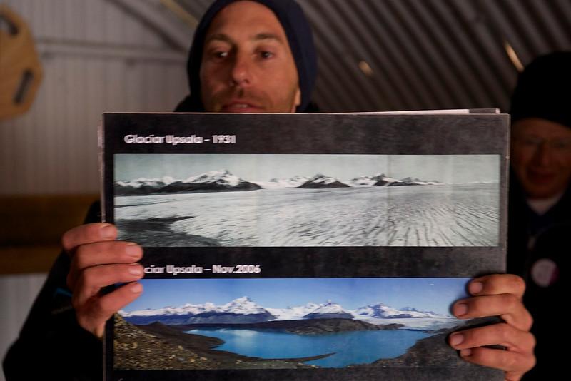 Poster showing how Upsala Glacier  receded between 1931 and 2006.