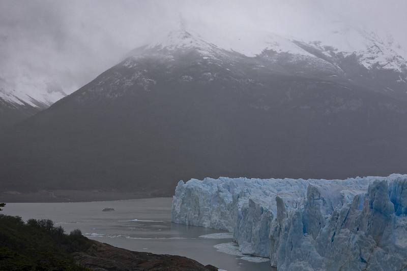 A glacier-viewing boat by Perito Moreno Glacier.