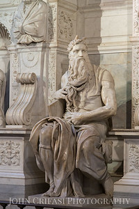 """Michelangelo Buonarroti's """"Moses.""""  The horns are depicted because Michelangelo's Bible wrongly translated the 'Moses' face shone'. In this Bible, this verse is written as 'Moses had horns'. Michelangelo's Bible was called the Latin Vulgate."""