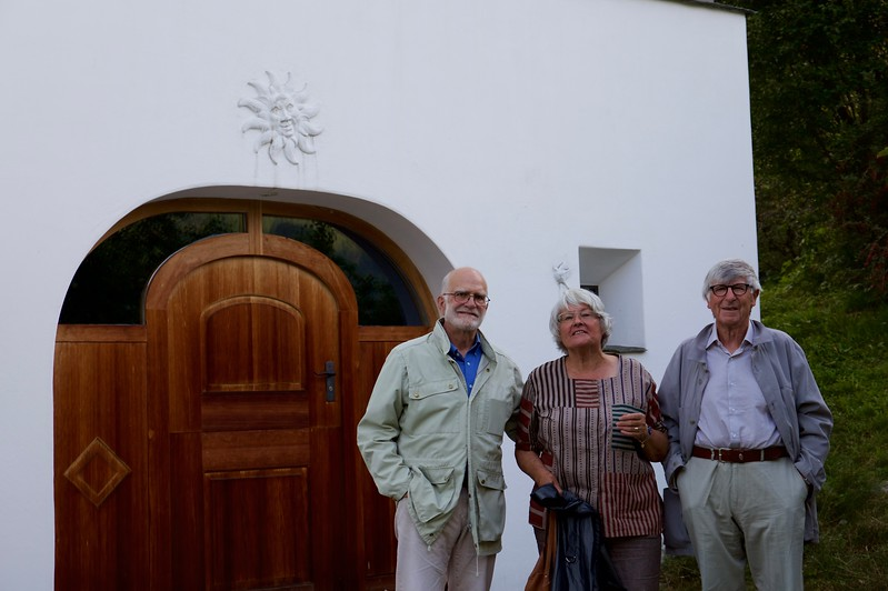 Steve with Magdalena and  Colin in front of the  house in Seraplana.  They arrived before we did; a friendly neighbor brought them coffee on the terrace while they waited for us to arrive.